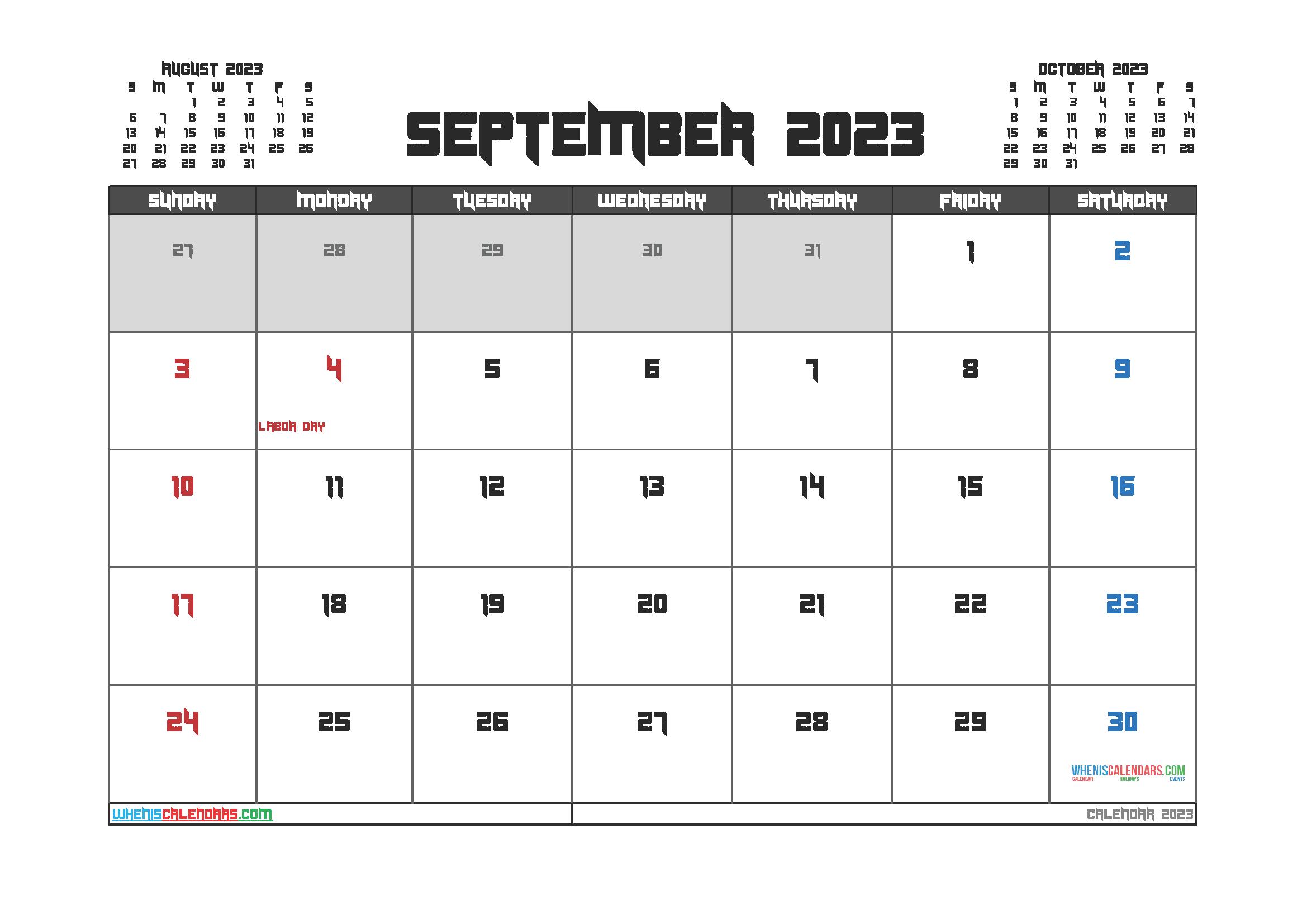 Free Printable September 2023 Calendar