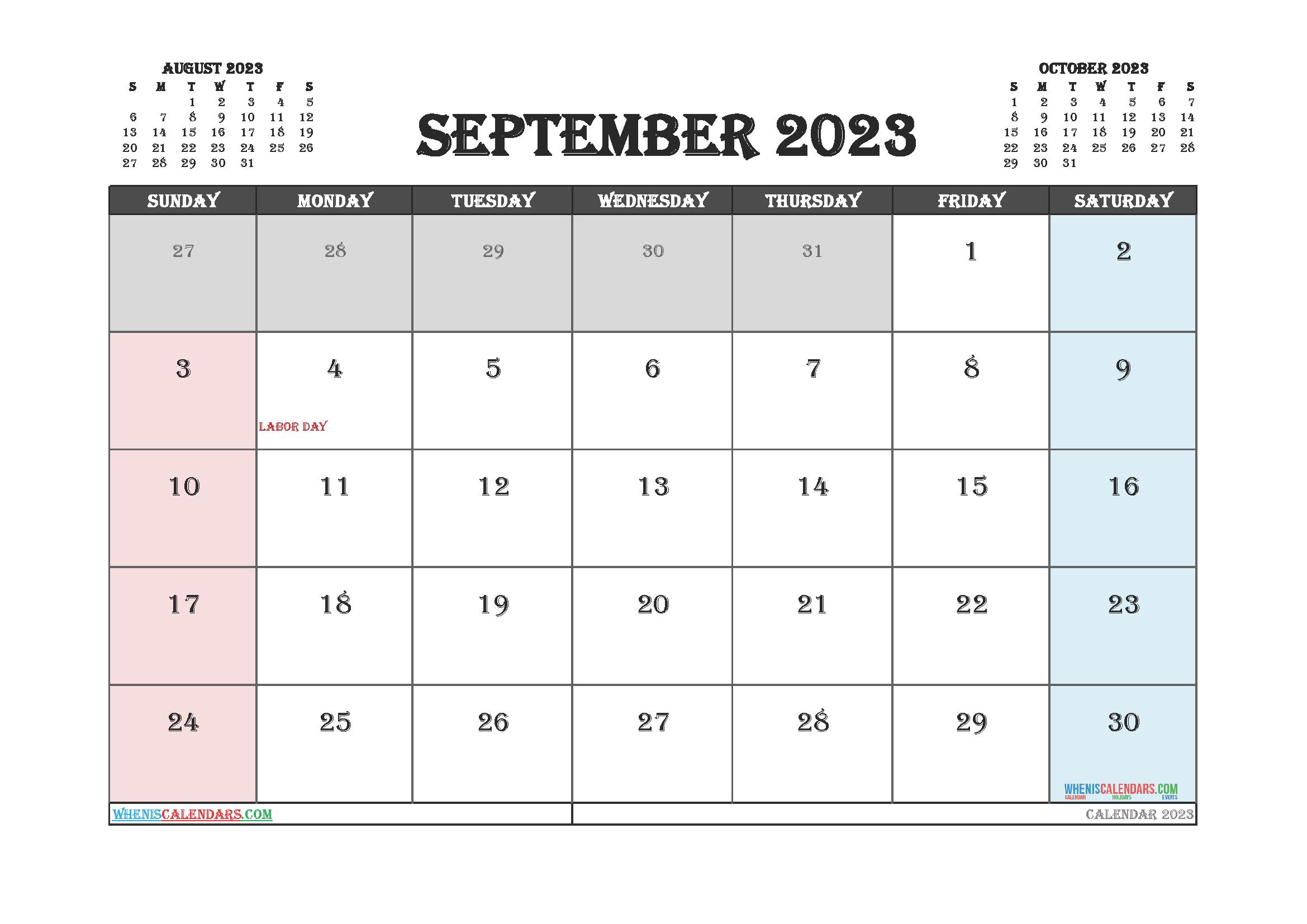 September 2023 Calendar Printable For Free