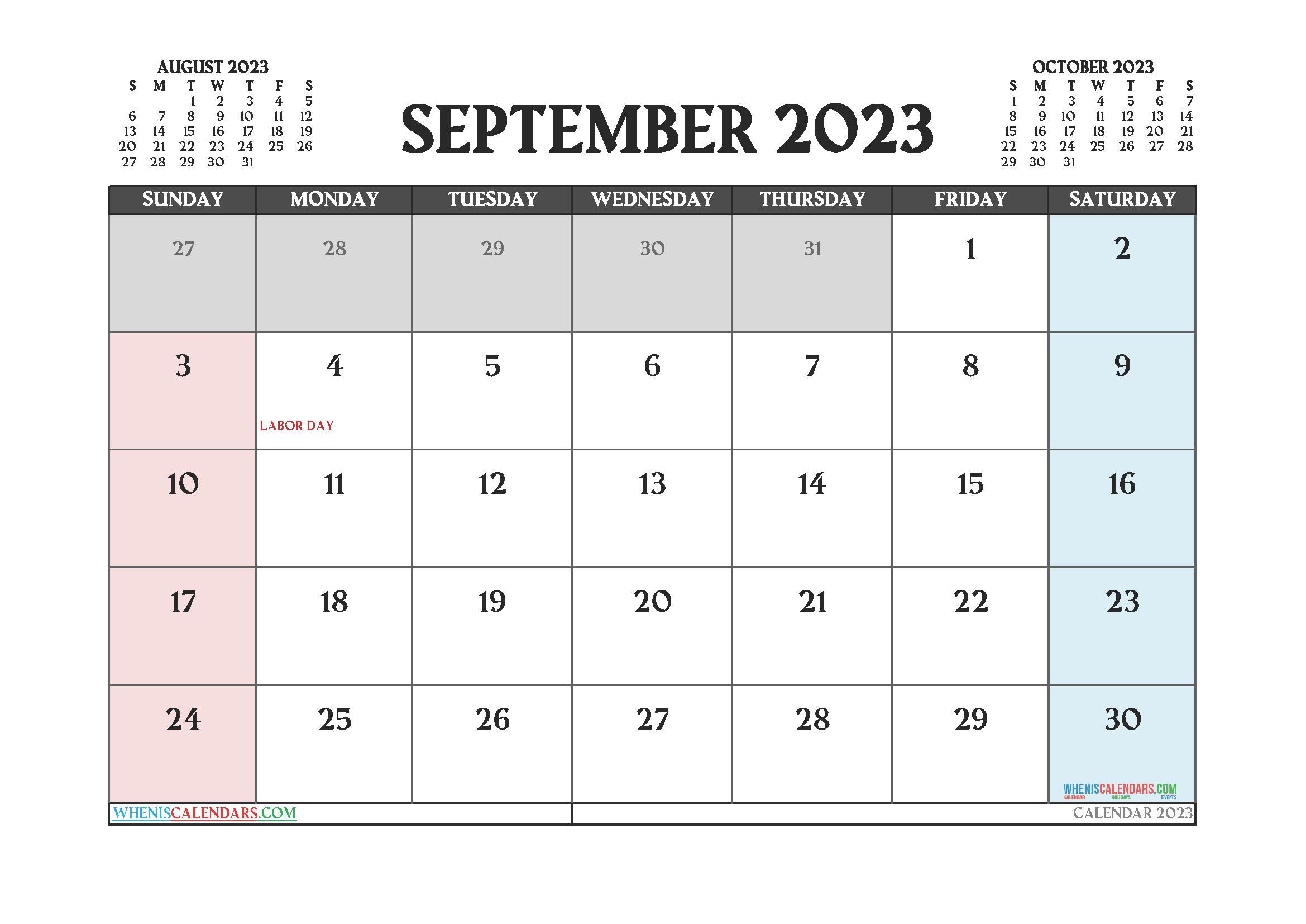 Free September 2023 Printable Calendar PDF