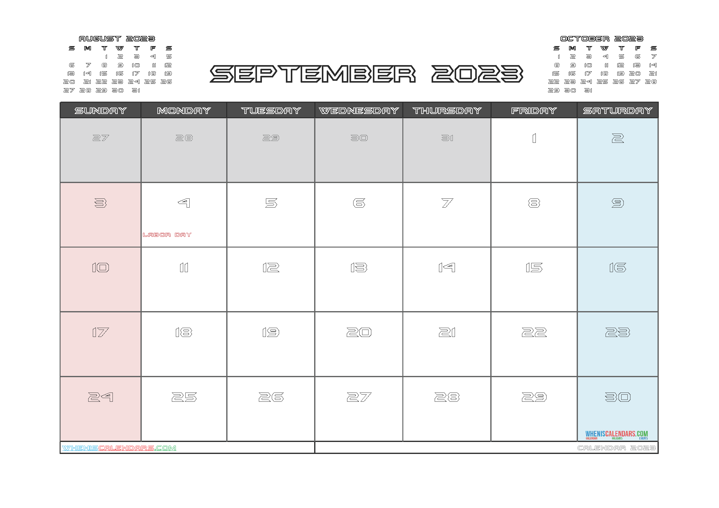 Free September 2023 Printable Calendar