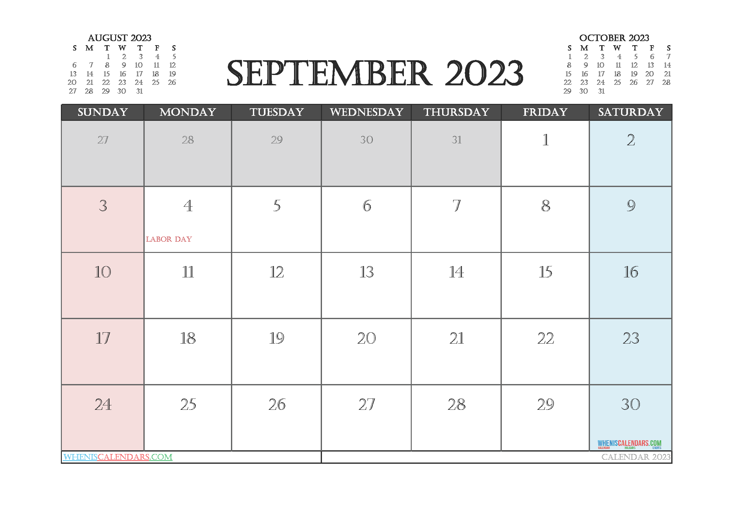 Editable September 2023 Calendar Printable