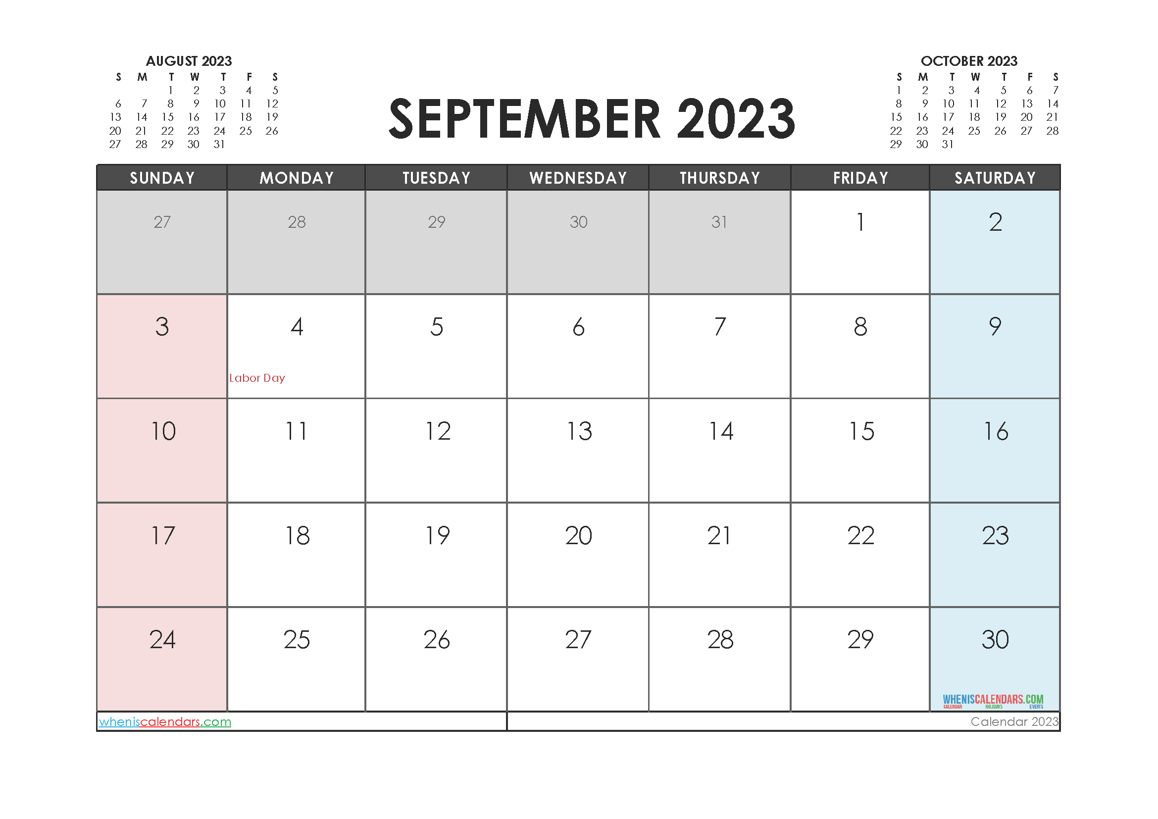 Free Editable Calendar September 2023 PDF