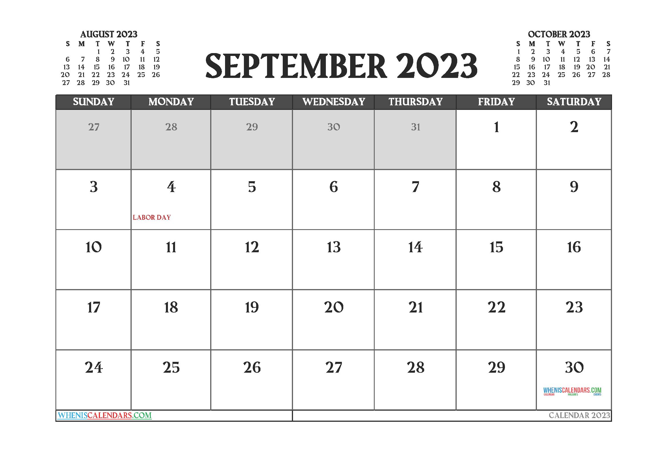 September 2023 Calendar Printable Free