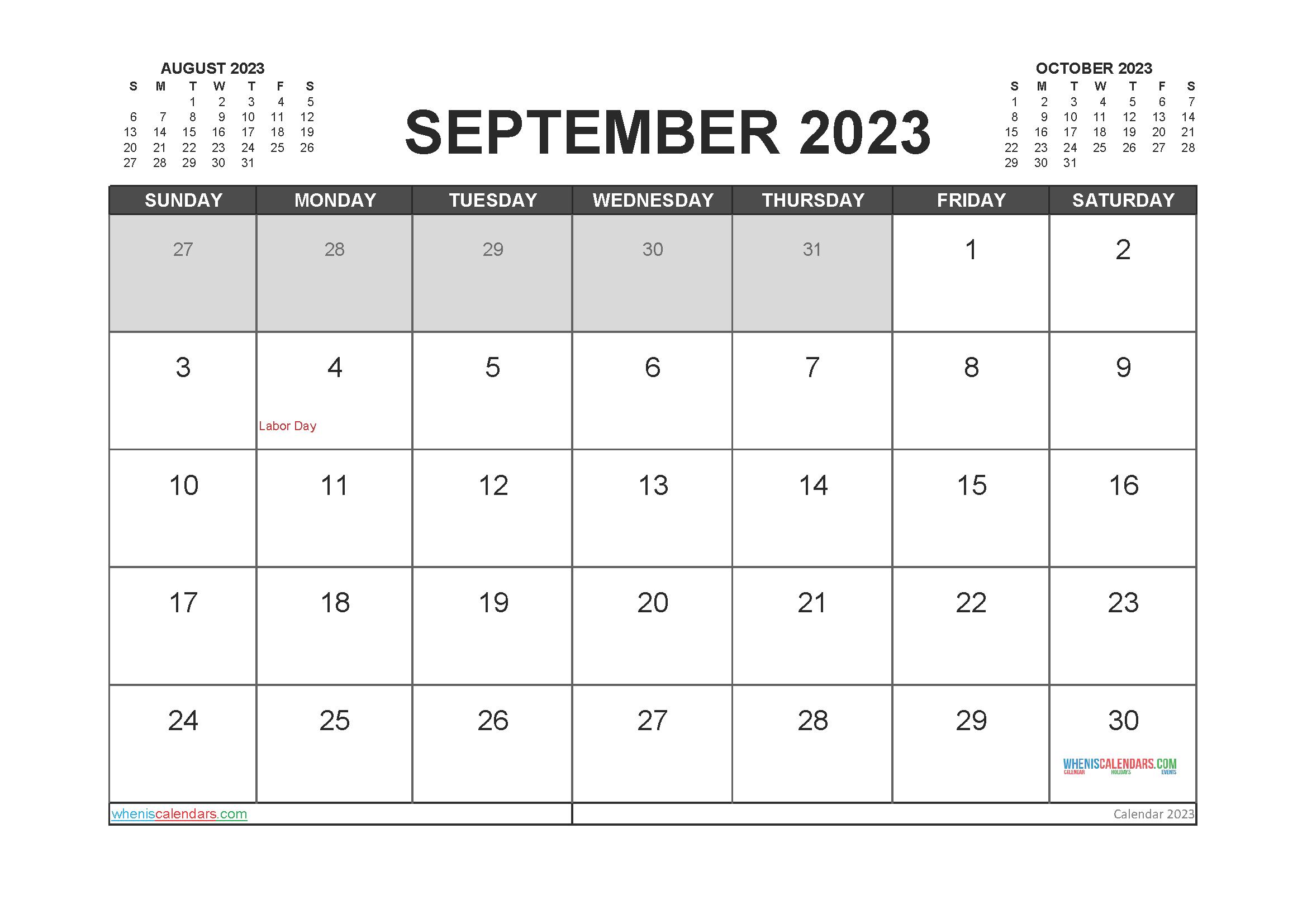 Printable Calendar September 2023 Free