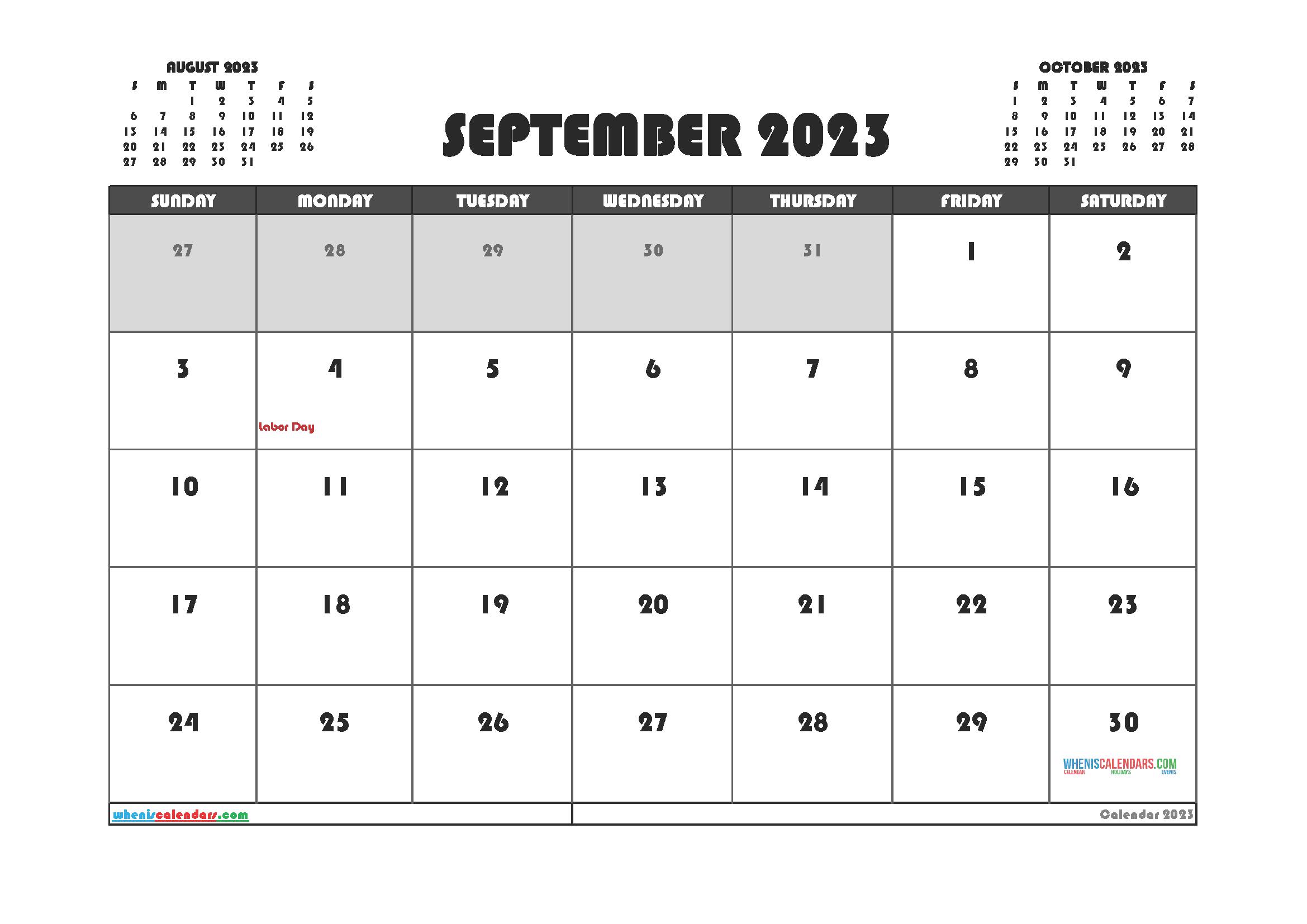 Free Editable September 2023 Printable Calendar
