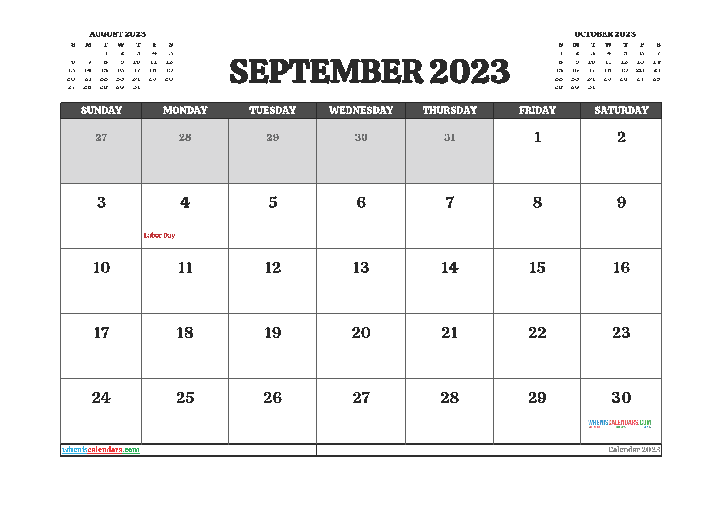 September 2023 Calendar Printable For Free