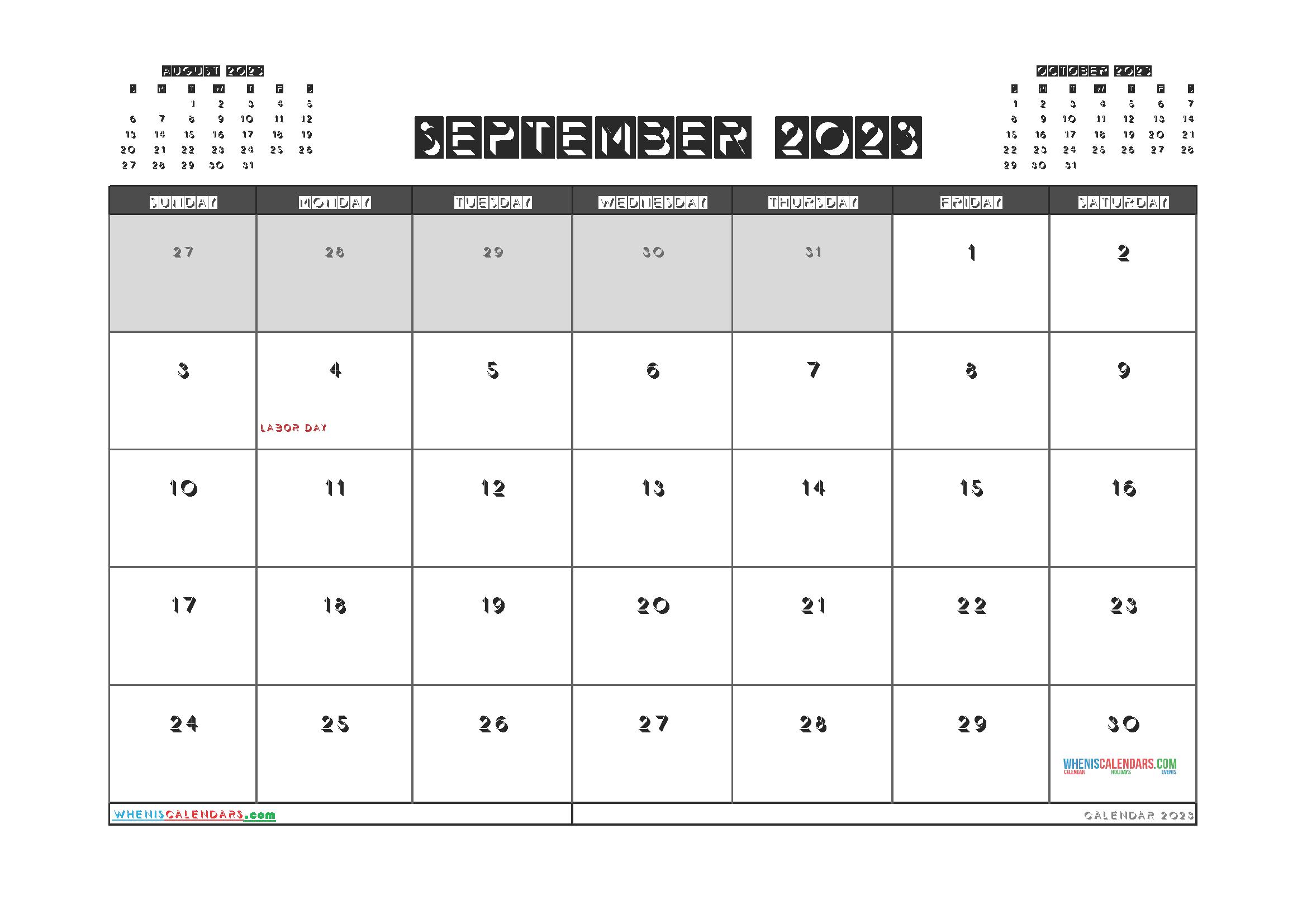 Printable September 2023 Calendar PDF