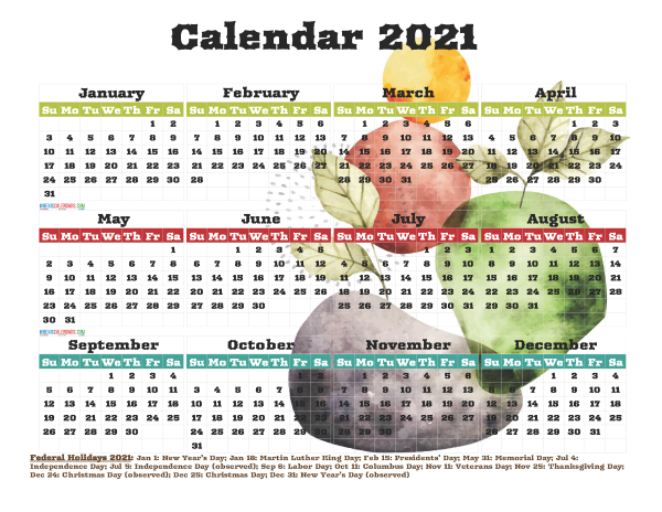 Free Printable 2021 Calendar with Holidays PDF Watercolor ...