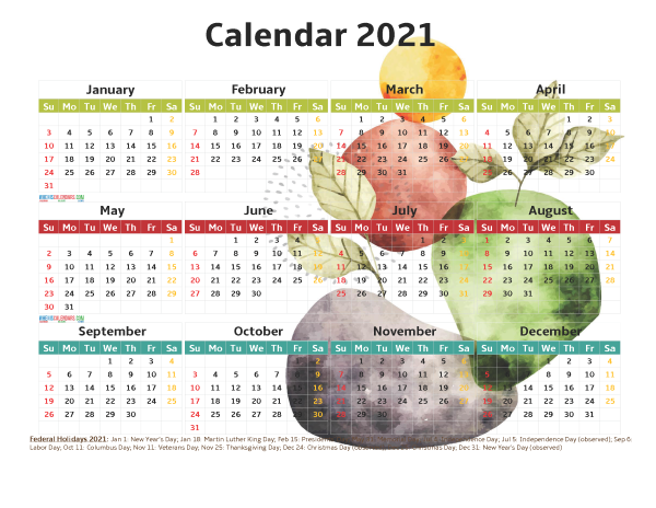 Free 2021 Printable Calendar with Holidays