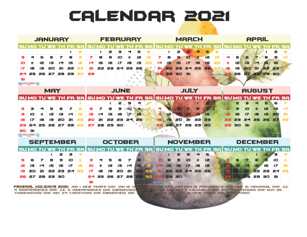2021 Calendar with Holidays Free Printable