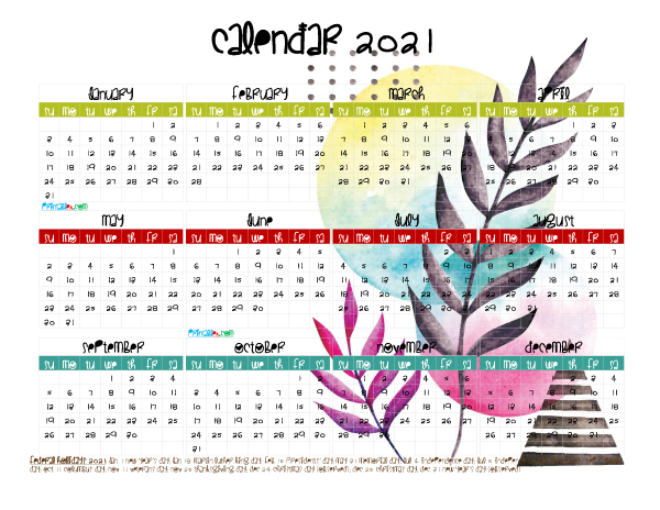 Free 2021 Printable Yearly Calendar with Holidays