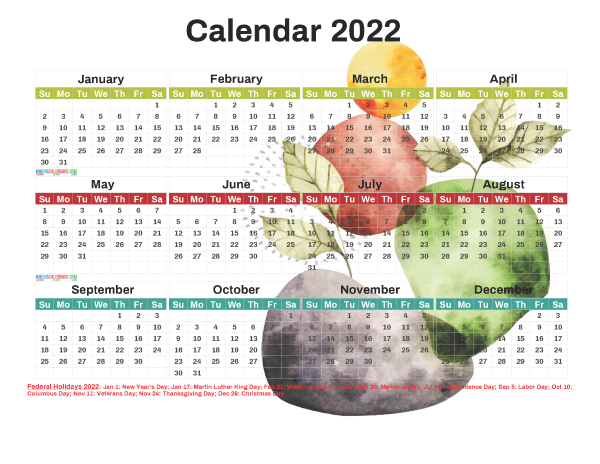 Printable 2022 Calendar with Holidays Free