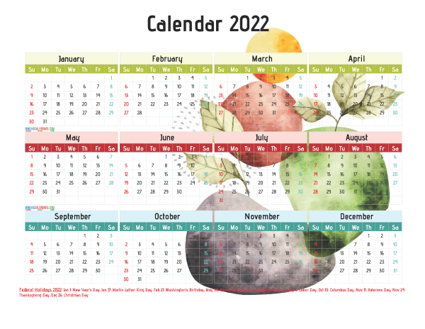 Free Printable 2022 Yearly Calendar with Holidays