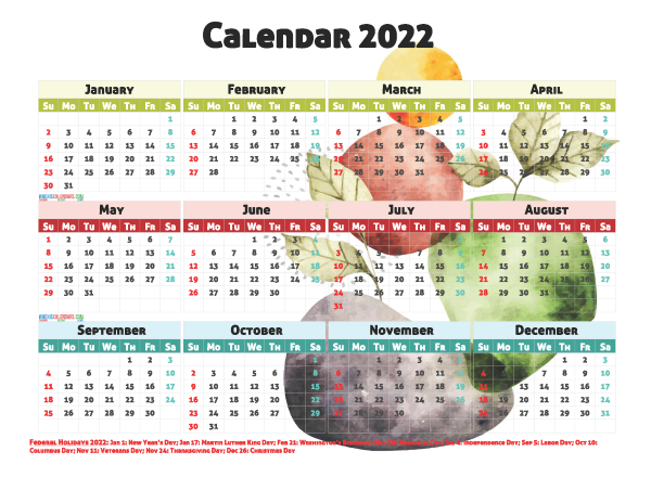 2022 Calendar with Holidays Free Printable 12 Templates ...