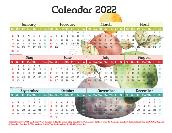 Free 2022 Printable Yearly Calendar with Holidays