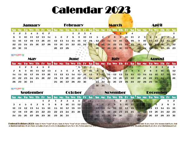 Free 2023 Printable Calendar with Holidays