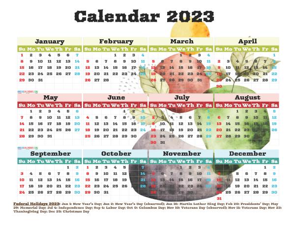 Free Printable 2023 Calendar with Holidays PDF