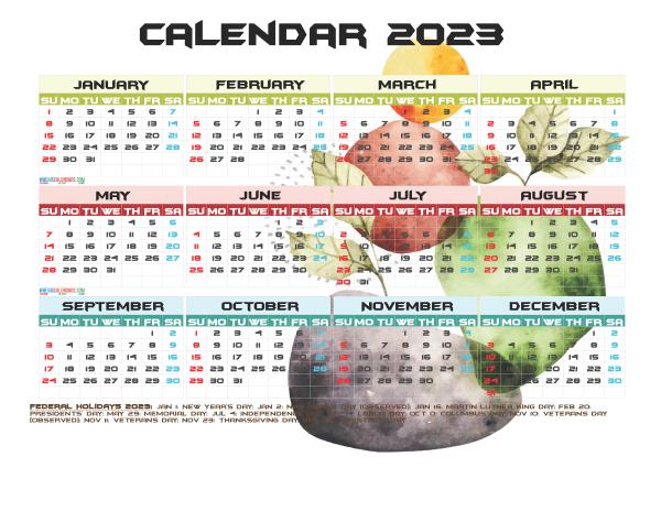 2023 Calendar with Holidays Free Printable