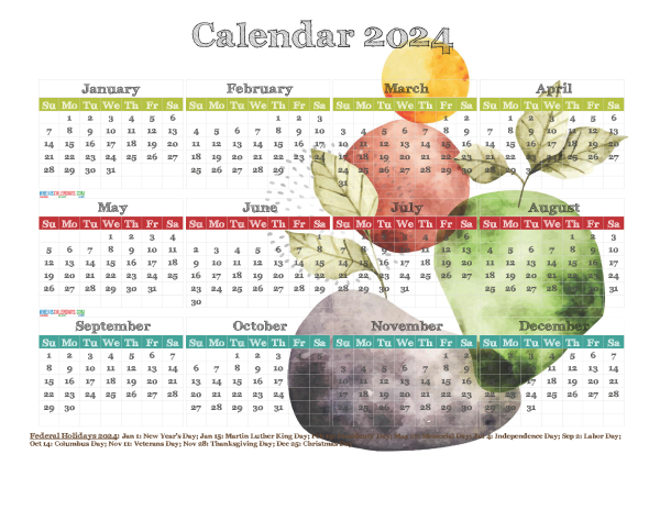 Free Printable 2024 Yearly Calendar with Holidays