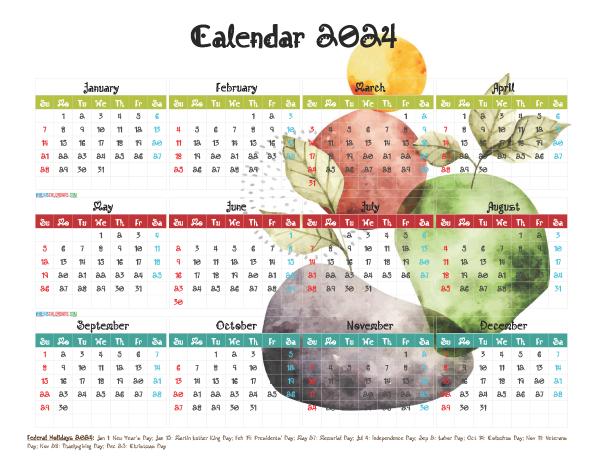 Printable 2024 Calendar with Holidays Free