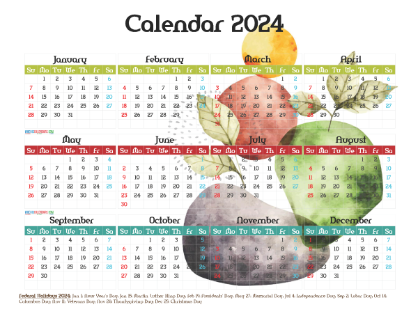 Free 2024 Printable Yearly Calendar with Holidays