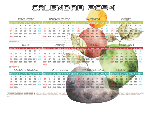 Free 2024 Printable Calendar with Holidays