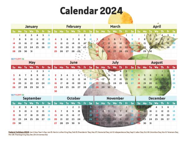 Free 2024 Printable Calendar with Holidays