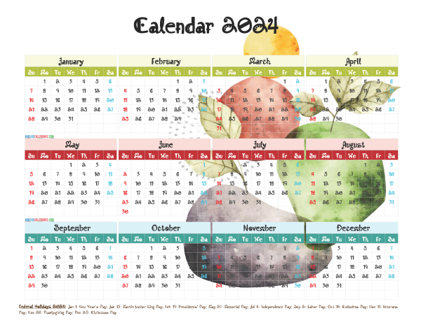 Printable 2024 Calendar with Holidays Free