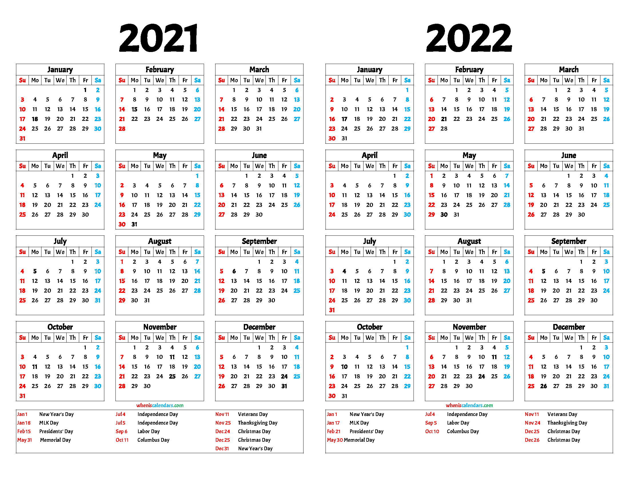 Printable 2021 and 2022 Calendar (12 Templates)