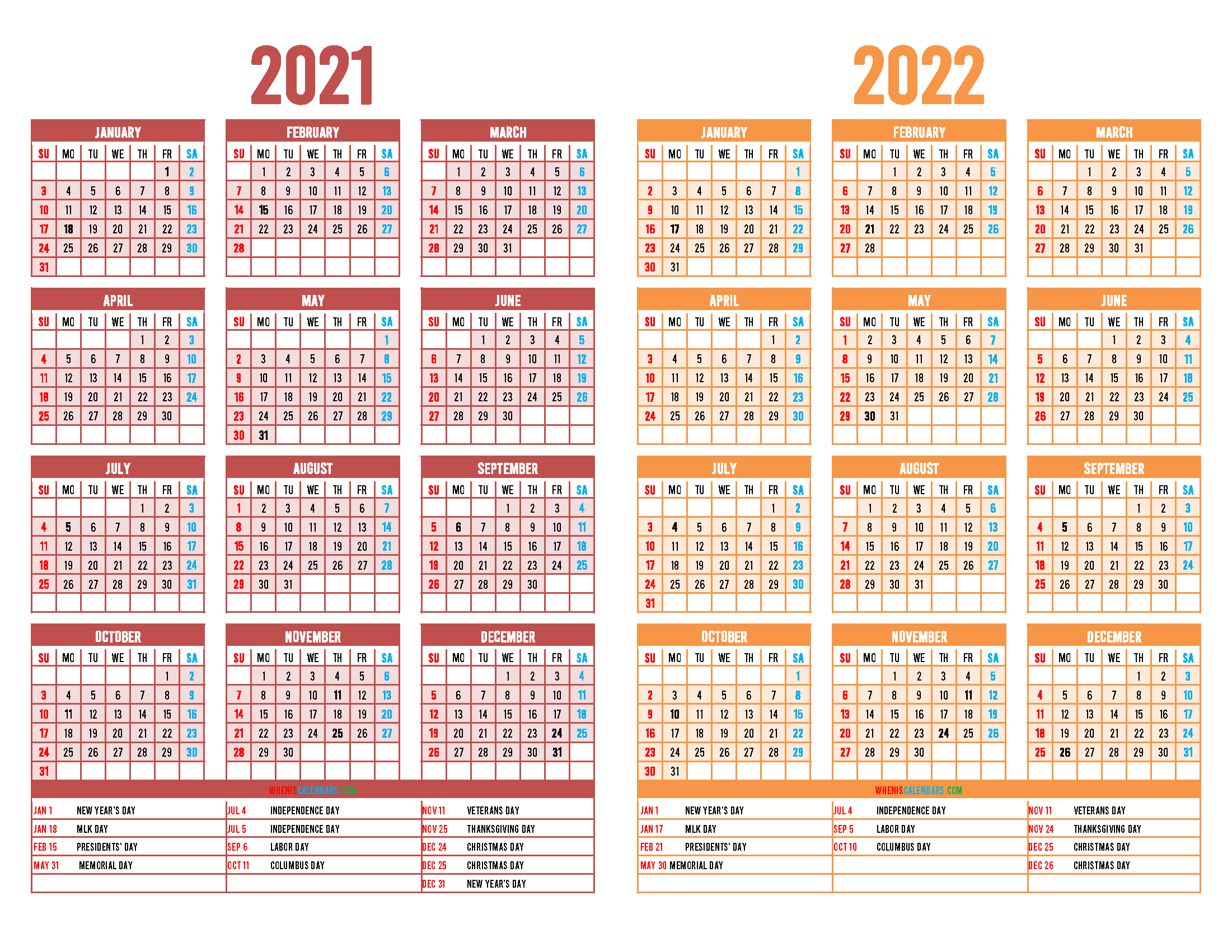 2021 and 2022 Printable Calendar with Holidays