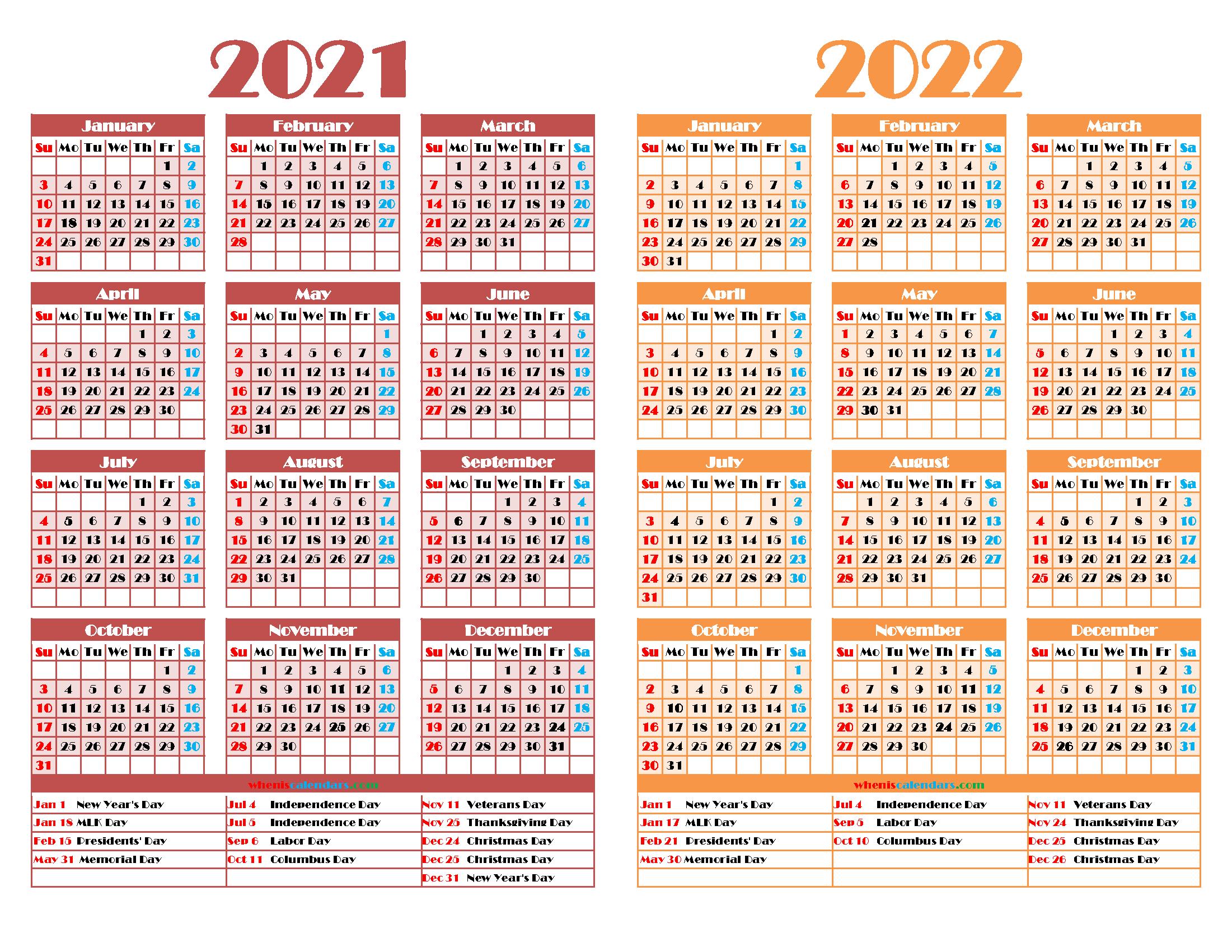 2021 and 2022 Calendar Printable
