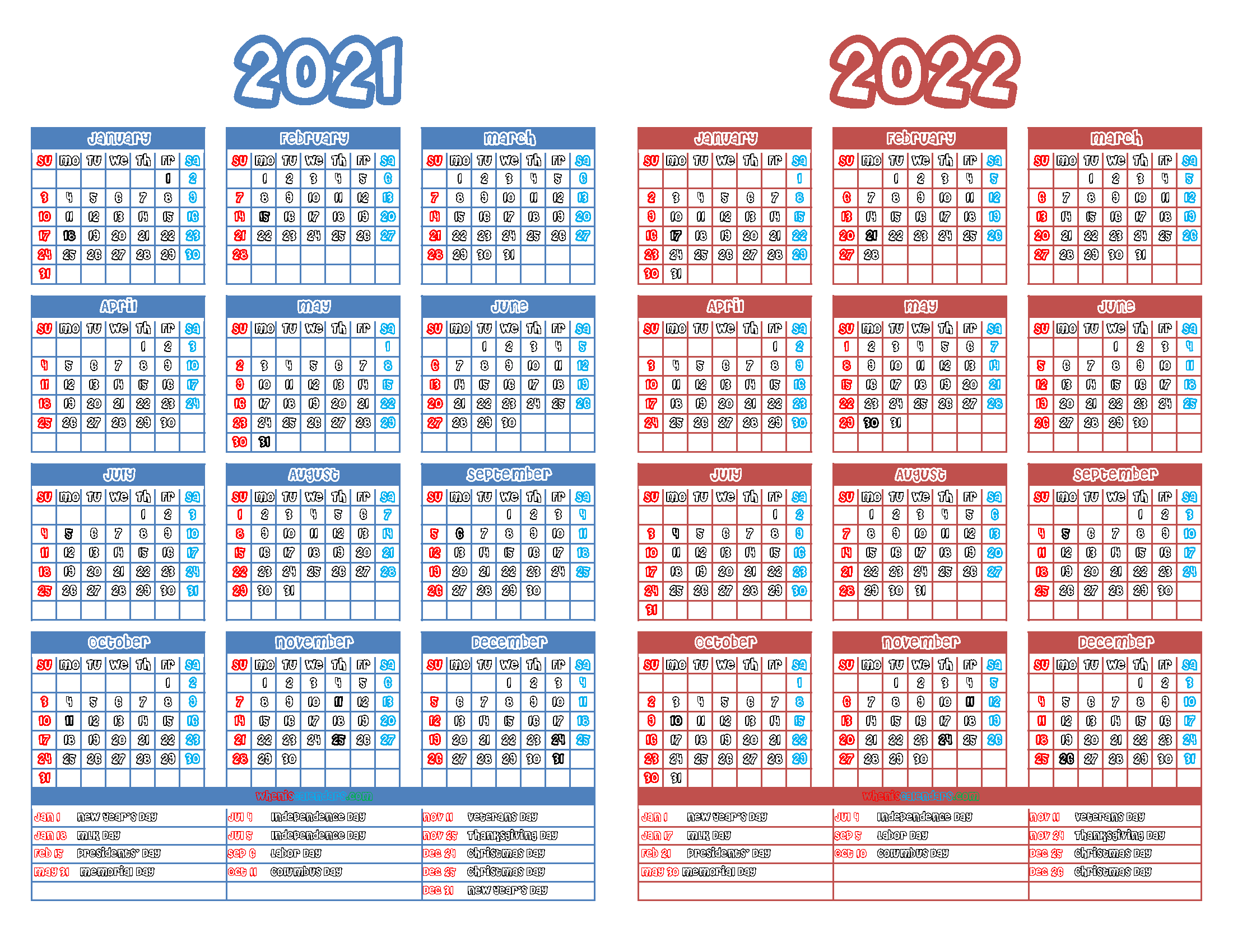 2021 and 2022 Printable Two Year Calendar (12 Templates)