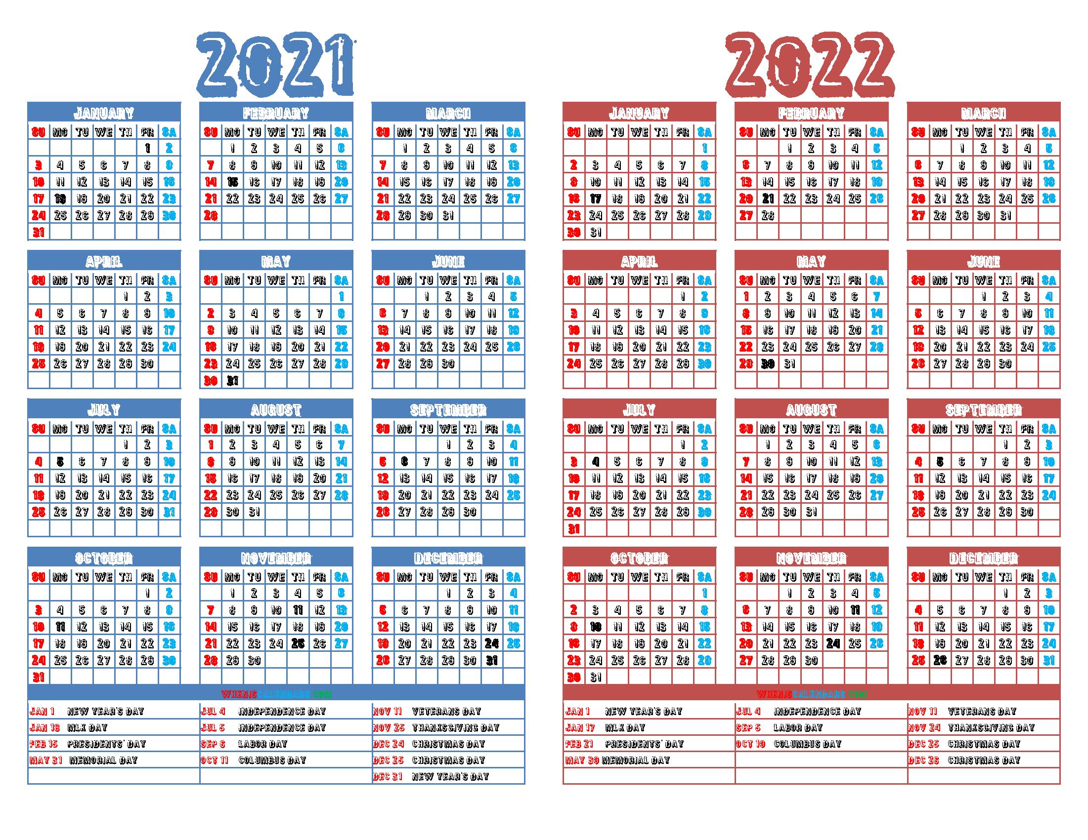 Printable 2021 and 2022 Calendar with Holidays (12 Templates)