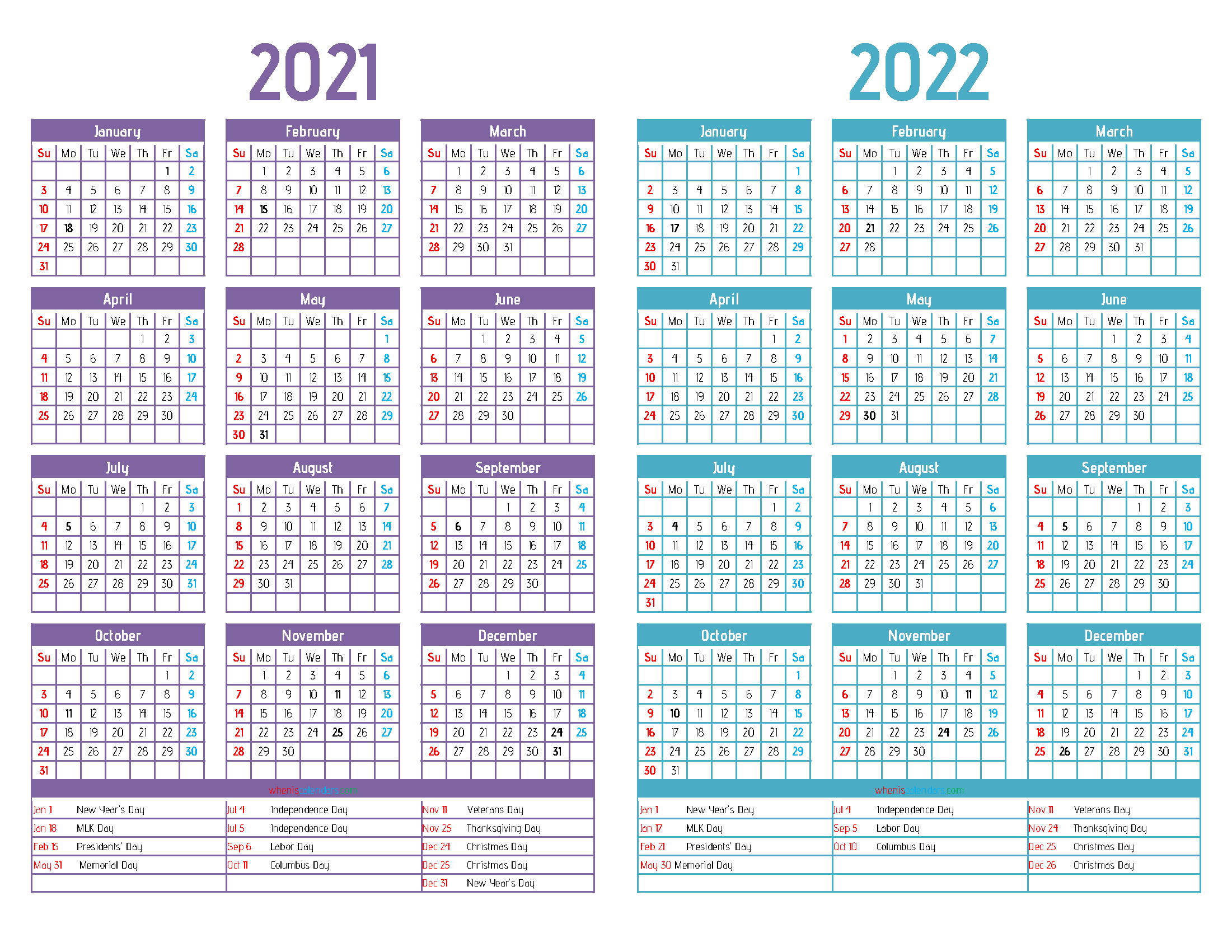 2021 and 2022 Printable Two Year Calendar