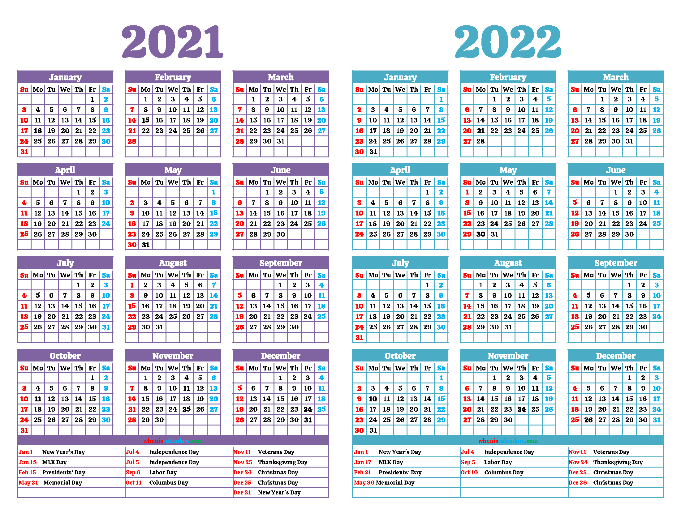 Printable 2021 and 2022 Calendar with Holidays