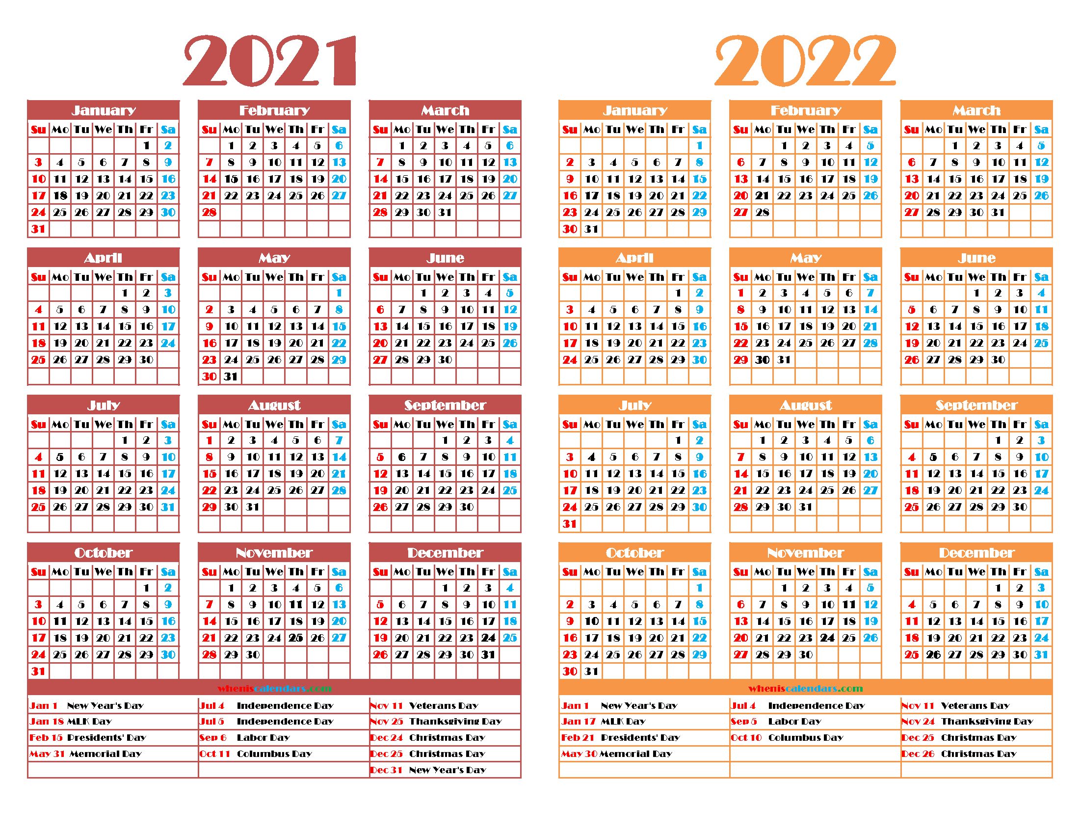 Printable 2021 and 2022 Calendar with Holidays