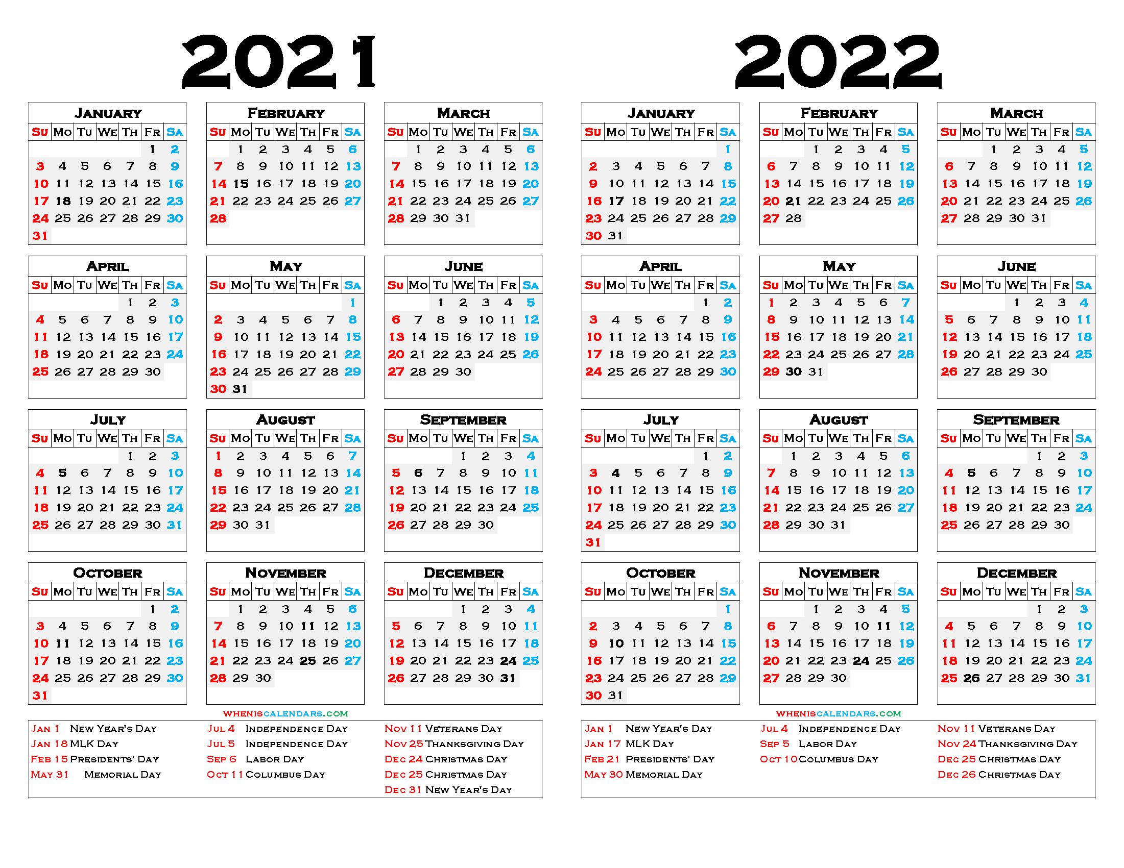 2021 and 2022 Calendar Printable Free