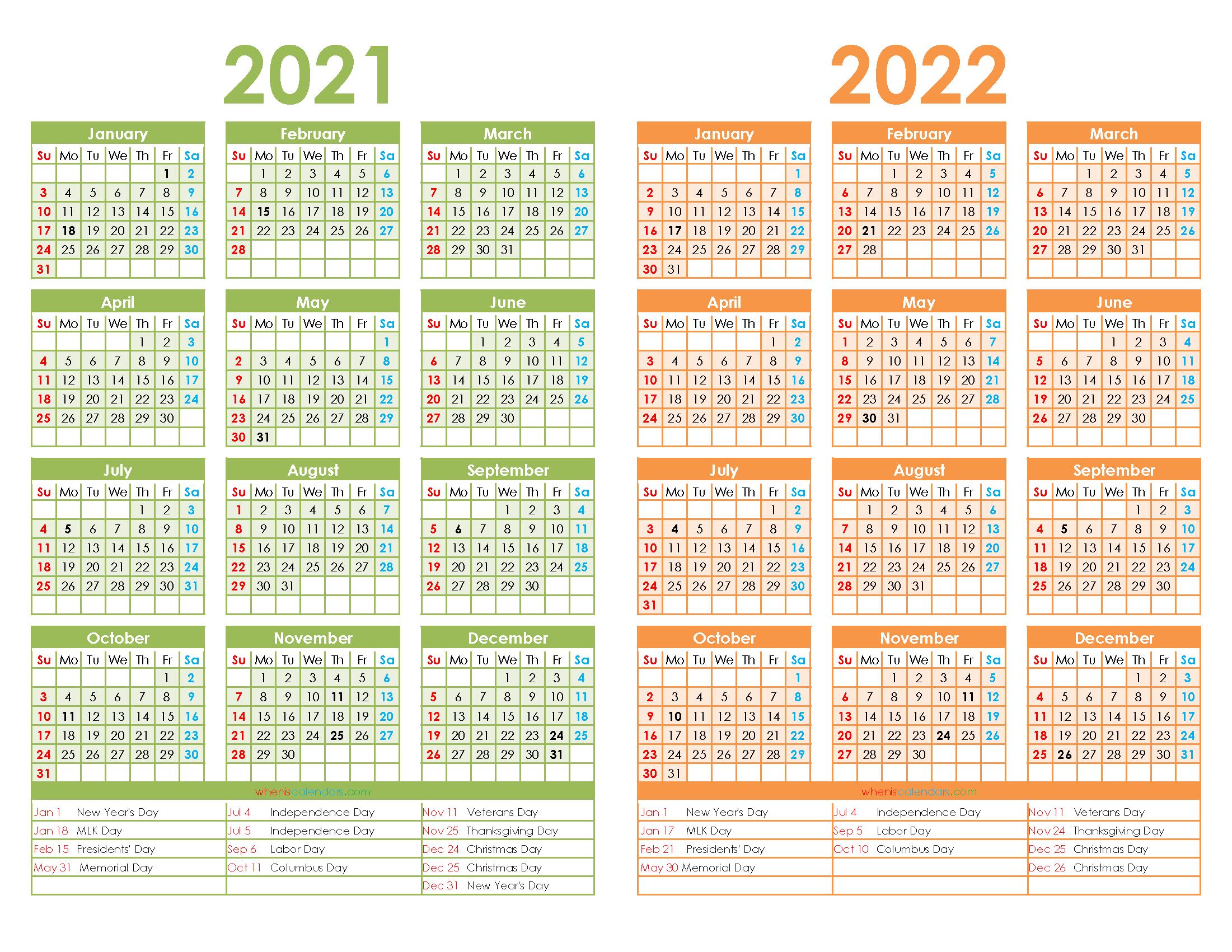 Printable 2021 and 2022 Calendar