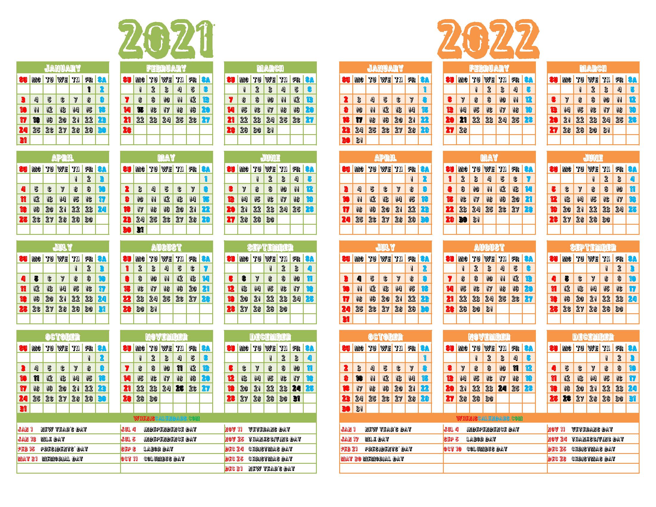 2021 and 2022 Printable Calendar with Holidays