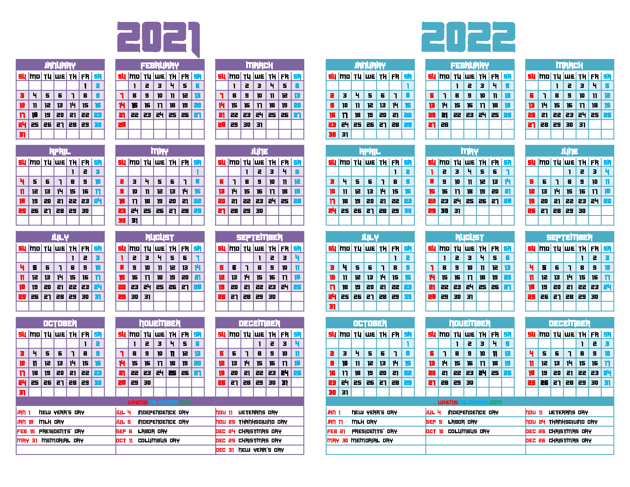 Printable 2021 and 2022 Calendar Two Year