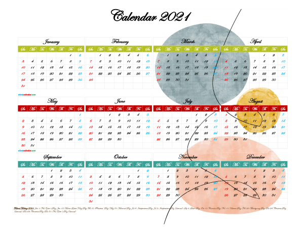 Printable Yearly 2021 Calendar with Holidays
