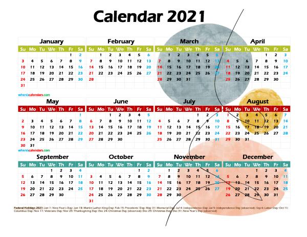 Free 2021 Printable Yearly Calendar