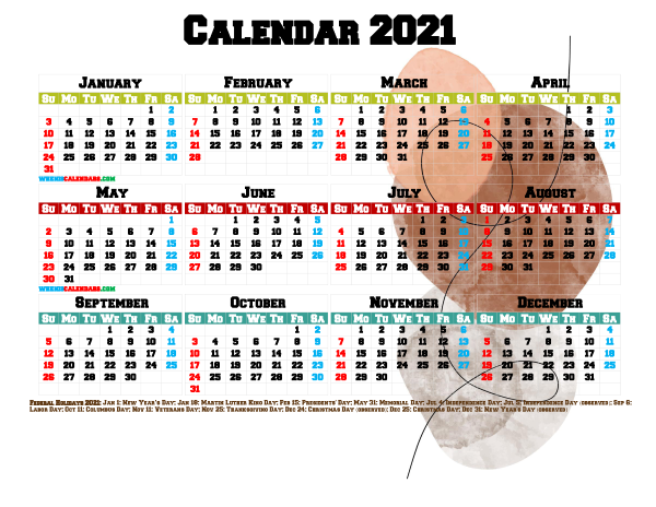 Free Printable 2021 Calendar with Holidays PDF