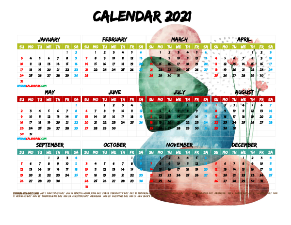 Free Printable 2021 Calendar with Holidays PDF