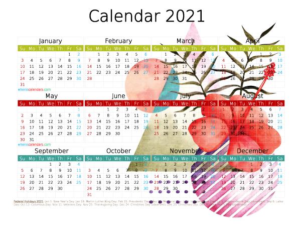 Free 2021 Printable Calendar PDF