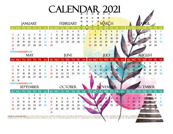 2021 Free Printable Yearly Calendar