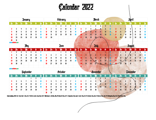 Printable Yearly 2022 Calendar with Holidays