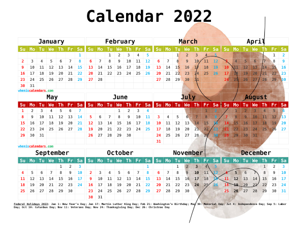 2022 Calendar with Holidays Free Printable