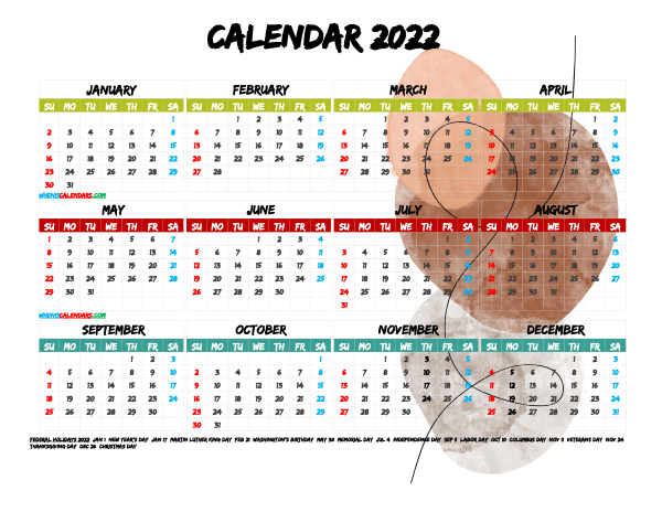 Free Printable 2022 Calendar with Holidays PDF