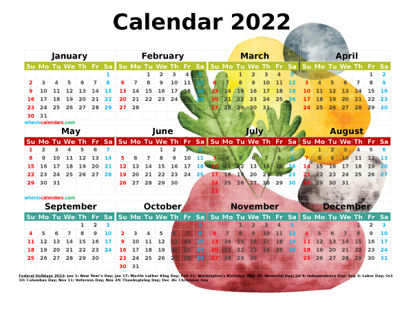 2022 Calendar with Holidays Free Printable